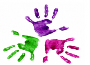 Green, purple, red hands png