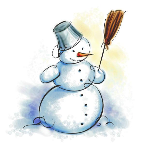 Snowman with bucket hat