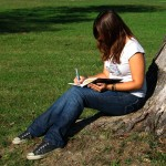 journaling under tree