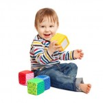 toddler with blocks