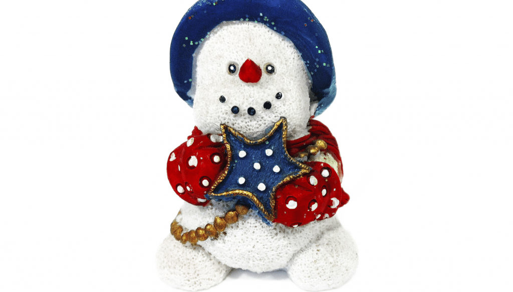 Cheerful snowman holding blue star