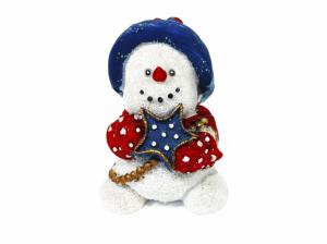Cheerful snowman holding blue star