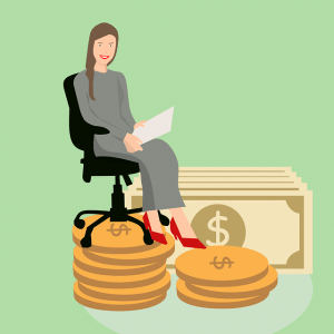 Woman sitting in chair on pile of money